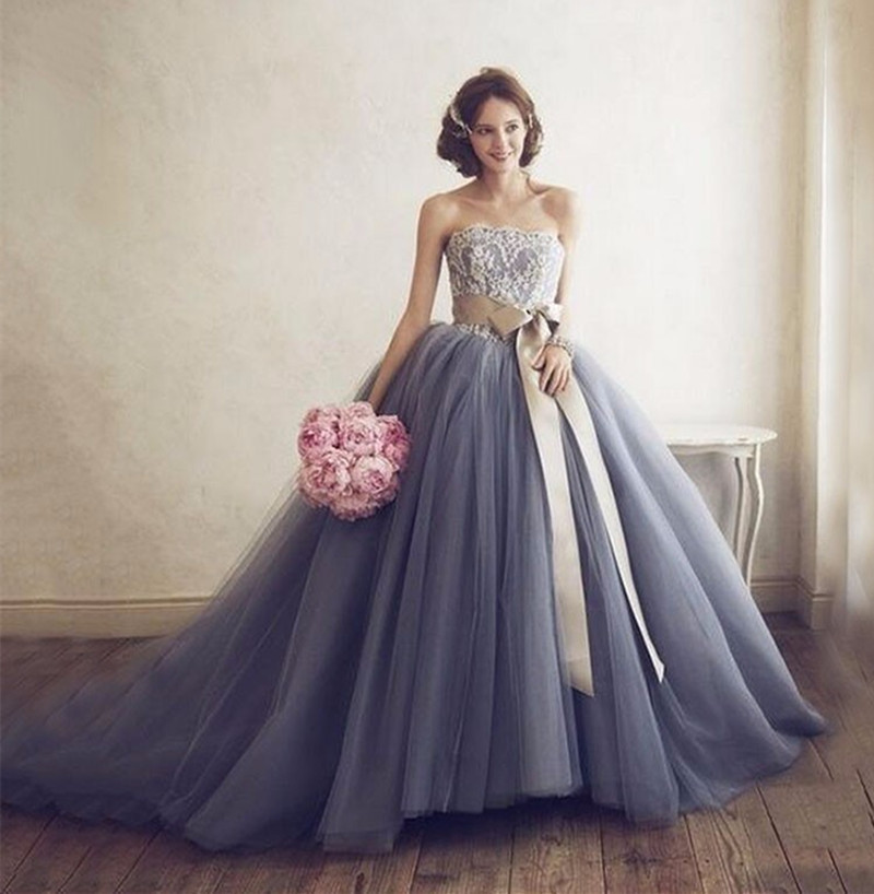 Backless Brown Sash Strapless Lace Tulle Ball Gown Gray 2018 Vestido De Noiva Boda Party Bridal Gown Mother Of The Bride Dresses