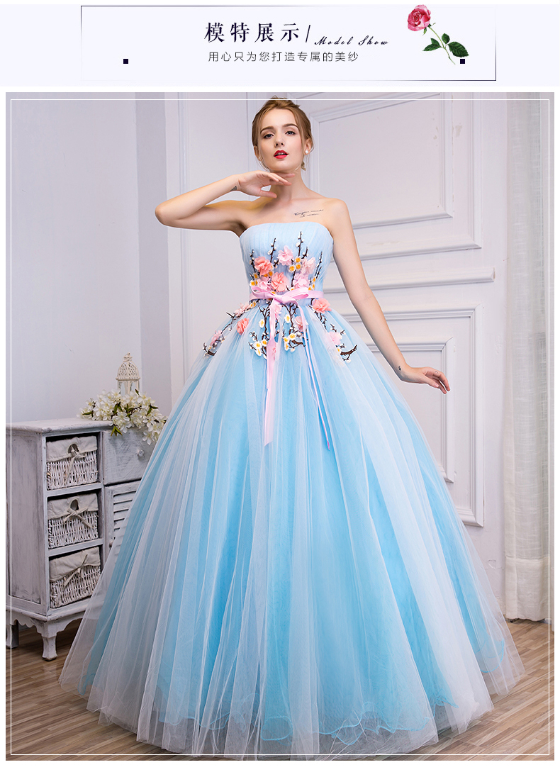 100%real light blue white veil flower embroidery beading ball gown medieval dress Renaissance Gown princess Victoria belle ball