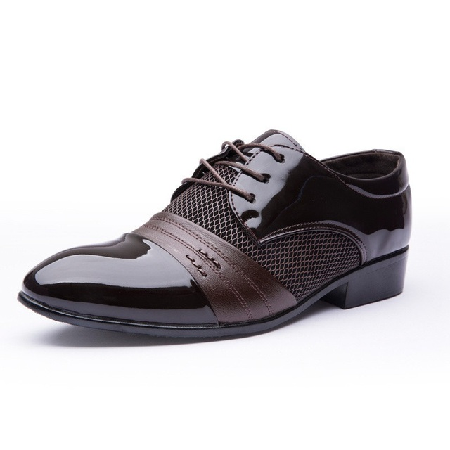2019 New Fashion Height Increasing Men Flats Shoes Breathable Wedding Shoes Flat Men Dress Shoes Business Male Flats Pointed Toe