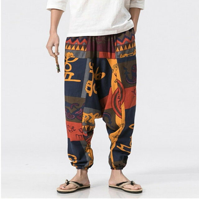 3 Warna Fashion Pria Longgar Celana Kasual Harem Dicetak Celana Hippie Aladdin Bohemian Boho Gypsy Celana Unisex Celana Plus Ukuran Celana Harem Aliexpress