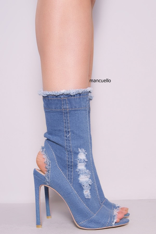 4a291303bb3 Glamorous Blue Denim Stiletto Heels Sandals Classy Women Peep Toe and Slingback  Summer Boots Side Zip Sandal Booties-in High Heels from Shoes on ...
