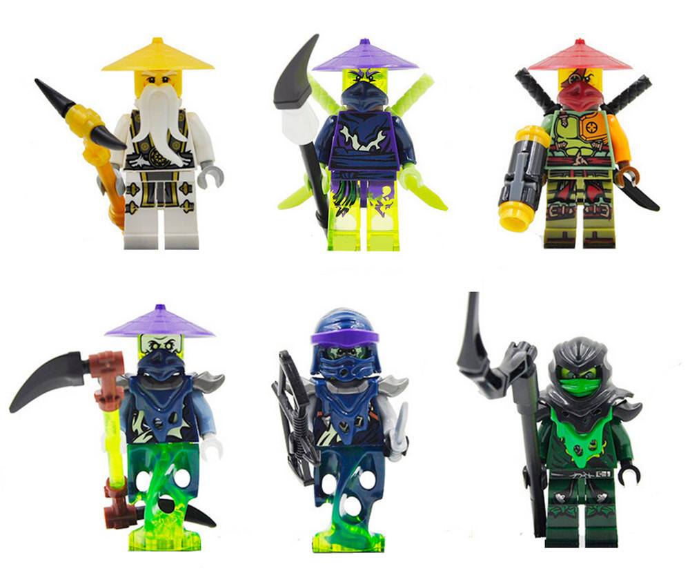 2018 New 6pcs Decool Building Blocks Set Golden Ninja go Gift Toys Compatible Movie people 0092-0097 ...