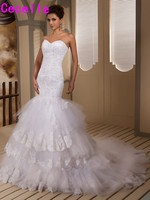 2017 Real Designer Mermaid Sweetheart Wedding Dresses Beaded Lace Appliques Tiered Lace Up Couture Bride Dress