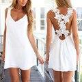 Mujeres sexy cuello en v sin espalda de encaje de ganchillo gasa dress summer beach correa sin mangas mini short vestidos negro white party dress