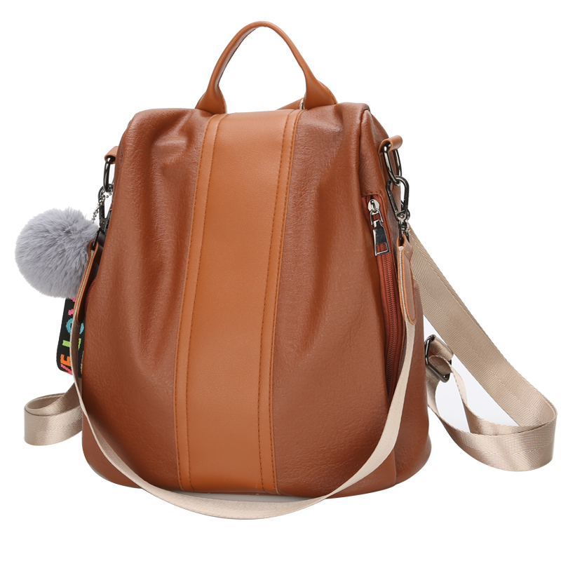 Women Backpacks PU Leather Backpack Shoulder Bags Daypack For Women Female Rucksack Feminine Mochila With Blub
