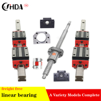 Free shipping ball screw SFU1605 & 2Pcs linear guide HGR20 L200/300/350/400/500/600/700mm+4pcs HGH20CA & BK/BF12 & coupler 8*10