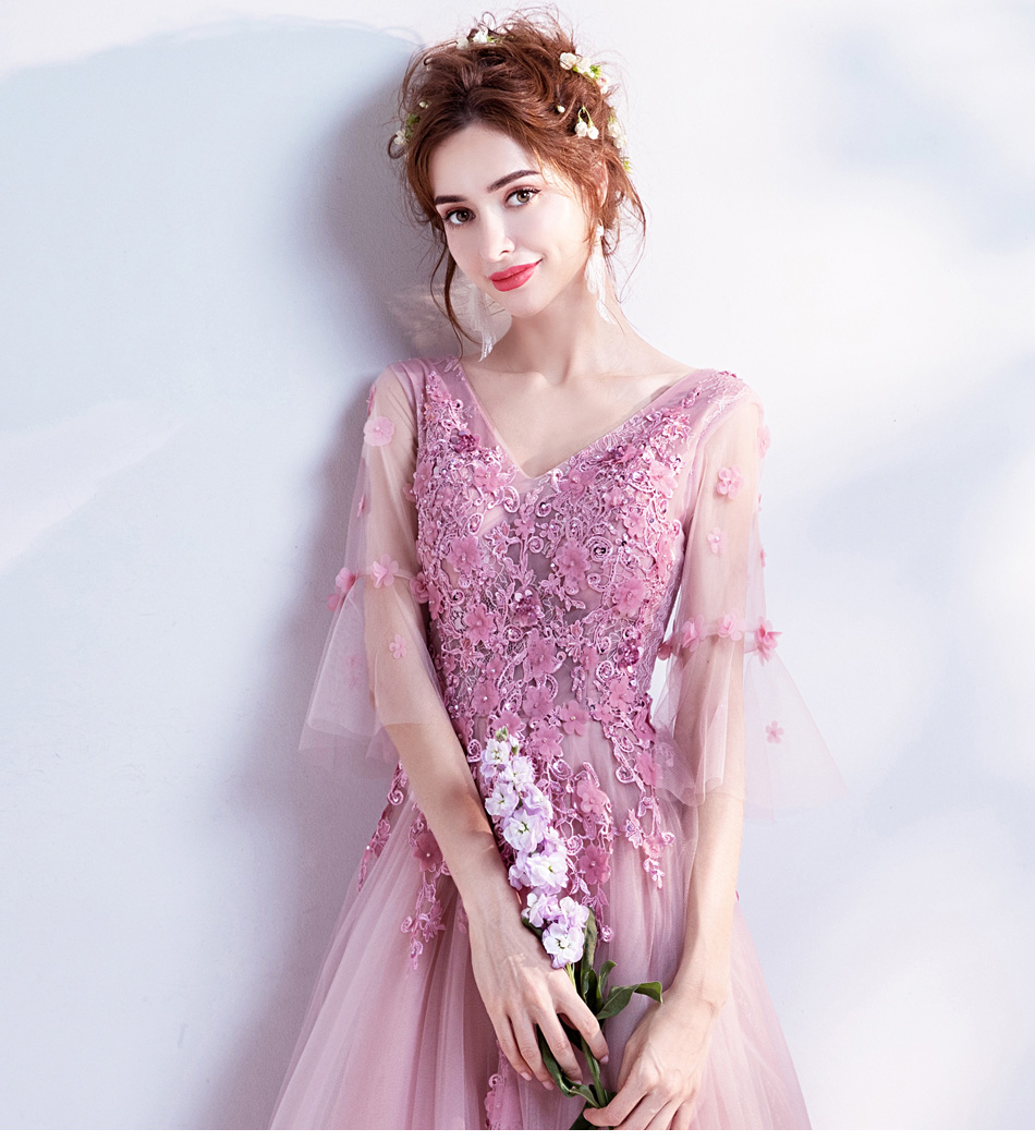 ▻Hadas a-line decorado con flor Tull azul prom vestido para la ...