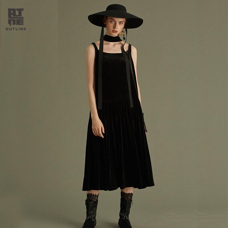 Контур Для женщин осенние черные свободные Vestido морщин до середины икры пуловер Винтаж одноцветное Mis до середины икры Causa Спагетти ремень п