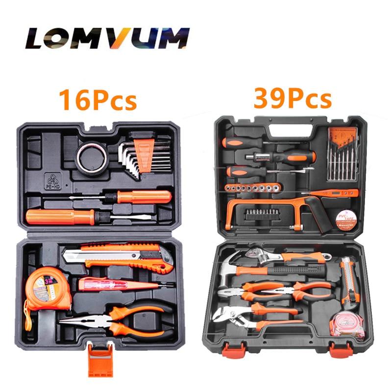 General Household Hand Tool Kit with Plastic Toolbox Storage Case Socket Wrench Screwdriver Knife tape measure Repair DIY tools