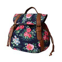 Women Vintage Flower Printing Backpack School Shoulder Bag Drawstring Rucksack Canvas Travel Bags цена в Москве и Питере