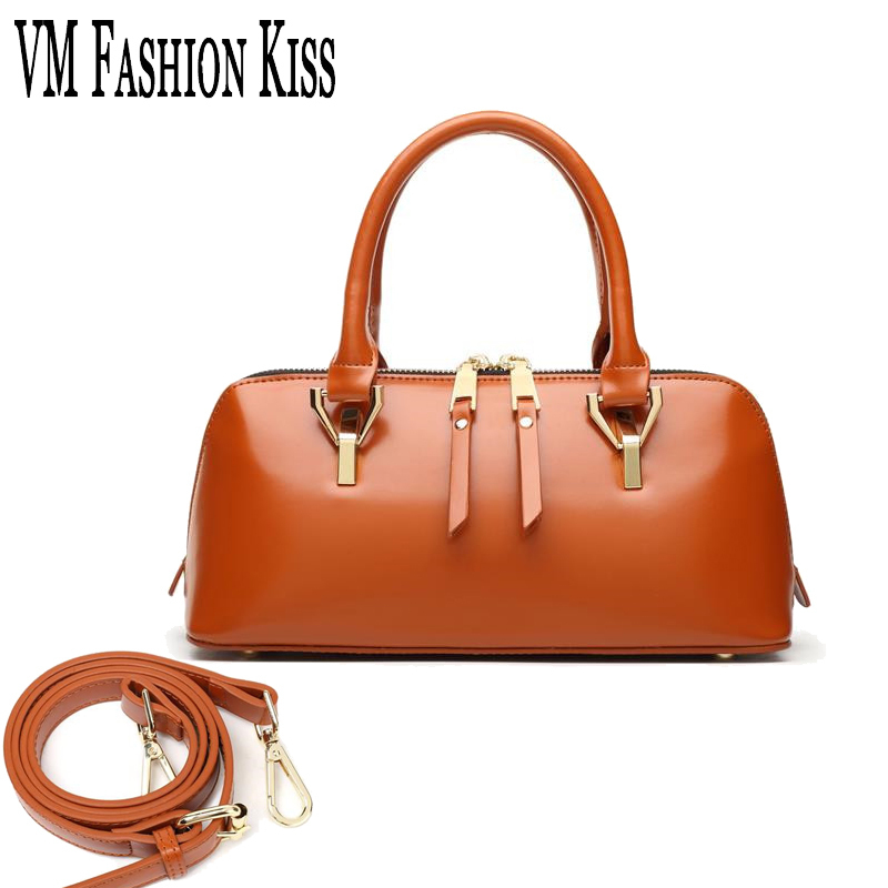 VM FASHION KISS Vintage Real Genuine Leather Female Handbag Luxury Famous  Brand Oil Wax Women Messenger. US  79.99. 2018 Rivet Design Women Boston Bag  ... 4c5505de2a9f2