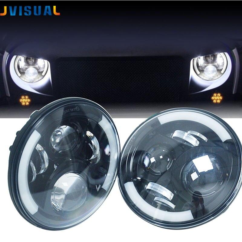 2pcs 7Inch Round LED Car Projector Headlight Head Lamp White Halo Angel Eyes Amber Ring Turn Signal Headlamp For lada niva 4x4 цена