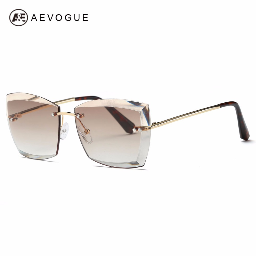 AEVOGUE Solglasögon För Kvadratkorg Rimless Diamond Cut Lens Brand Designer Mode Shades Sun Glasses AE0528