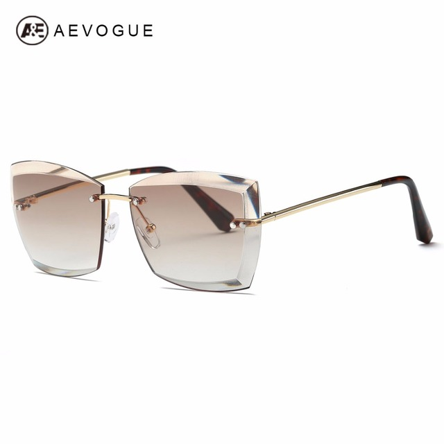 AEVOGUE Sunglasses For Women Square Rimless Diamond cutting Lens Brand Designer Fashion Shades Sun Glasses AE0528