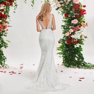 Image 3 - Dressv 아이보리 인어 웨딩 드레스 v 목 민소매 레이스 스윕 기차 바닥 길이 신부 야외 및 교회 웨딩 드레스