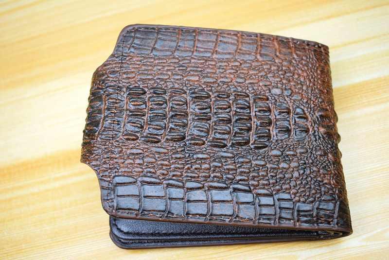 Mens กระเป๋าสตางค์หนังแท้กระเป๋าสตางค์ billetera hombre ผู้ชายกระเป๋าสตางค์ Vintage สไตล์ cartera hombre จระเข้ Alligato portemonnee