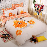 100 Cotton Set Bedding Orange Bicycle Bed Duvet Cover Linens 4 Pcs Home Breathable Smooth Comforter