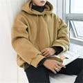 Korean style men clothing velvet thicken sweatshirt men drop shoulder loose hoodie hiphop streetwear male hooded sweatshirt C502
