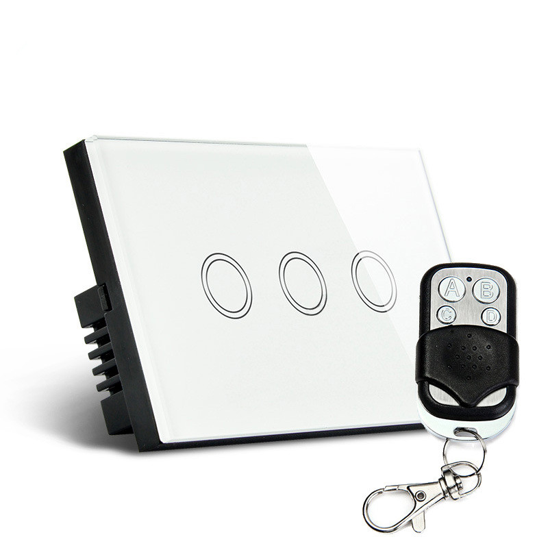 Free Shipping Luxury White Crystal Glass Panel Touch Screen Wall Light Remote Switch Backlight LED 3 Gang 3 Way SKU: 5596 smart home us black 1 gang touch switch screen wireless remote control wall light touch switch control with crystal glass panel