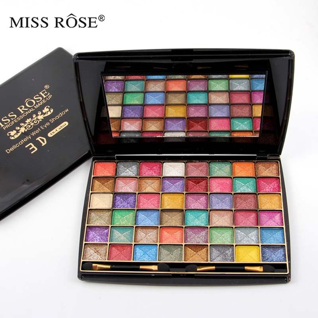 Miss Rose 3D 48 Color Eyeshadow Palette Matte Earth Convex Surface Dusting Powder Pearl Wet Shimmer Eye Shadow Makeup Cosmetics