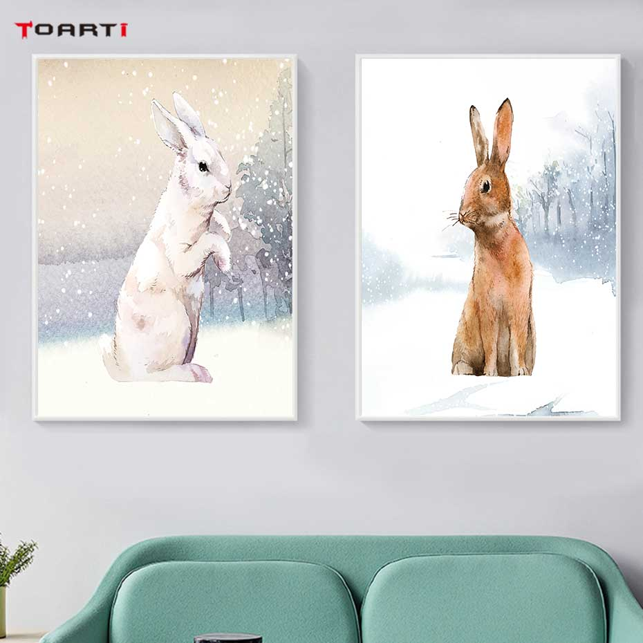 Image 3 - Modern Snowfield Cartoon Animals Prints Posters Wall Art Rabbits Polar Bears Canvas Painting For Kids Nursery Bedroom Home Decor-in Painting & Calligraphy from Home & Garden