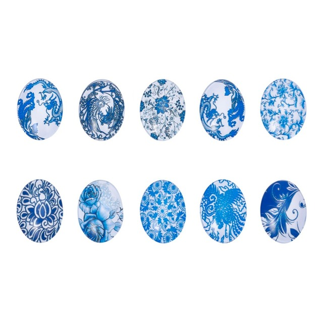 10pcs Glass Cabochons Cover Oval Flatback Fit Cameo Base Setting DIY Jewelry Crafts Materials Accessories Mixed 25x18x6mm