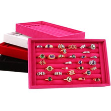 Velvet Suede Ring Earrings Organizer Ear Studs Jewelry Display Stand Holder Rack Showcase Plate Jewelry Box(China)