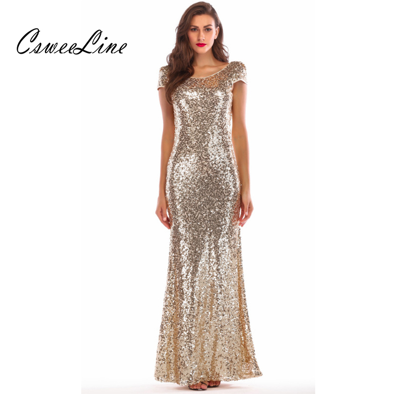 Detail Feedback Questions about Backless Draped Gold Sequin Short Sleeve  Maxi Dress Summer Women O Neck Mermaid Long Dress 2018 Sexy Elegant Evening  Party ... ba7f8c64b143