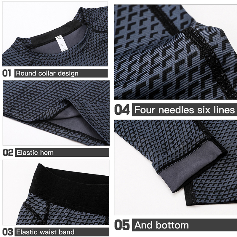 Image 5 - 2017 Fitness Tight Sport Suit Men Long Sleeve Shirt +Pant Mens Running Set Compression Gym Clothing Quick Dry Mens Sportswear-in Running Sets from Sports & Entertainment on AliExpress