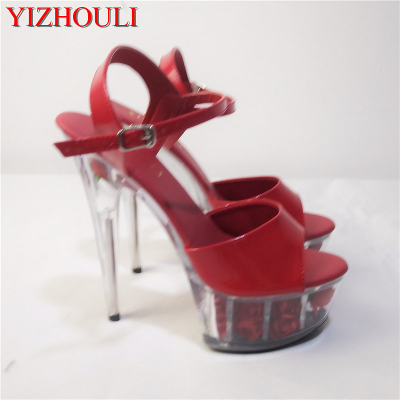 Sexy Ankle Strap Red Flower Sole Design 15CM High Heel Shoes Sandals, Pole Dance Shoes, High Heel Wedding Shoes big size ankle strap 18cm thick high heel platforms pole dance shoes star model shoes sandals party wedding shoes 3 colours