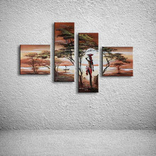 Modern Home Wall Art Handpainted African Women Canvas Paintings 4 Piece Pictures Handmade Abstract Trees Landscape Oil Painting(China)