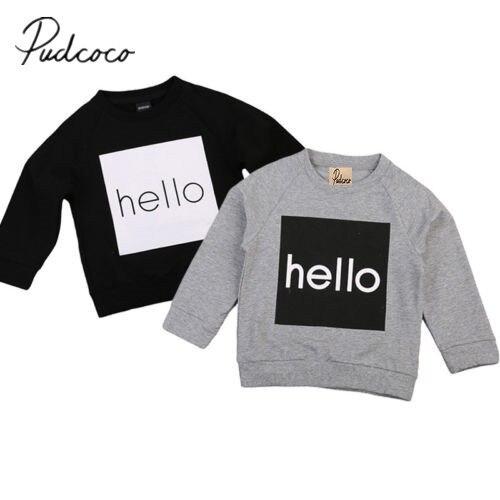 Hoodies Sweatshirt Autumn Toddler Girl Boy Hello-Print Kids Pudcoco Tops Warm 1-6Y