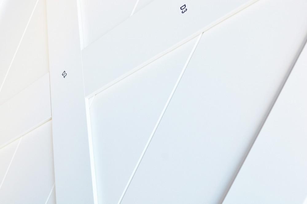 DIYHD Double X forme blanc grange porte dalle MDF solide noyau apprêté intérieur panneau de porte (démonté) - 3