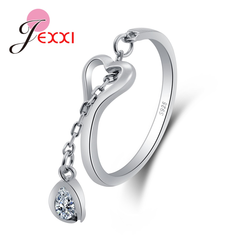 New Cheap Opening Small Drop Water Cubic Zirconia Chain Heart 100% 925 Sterling Silver Rings Great Fashion Birthday Gift