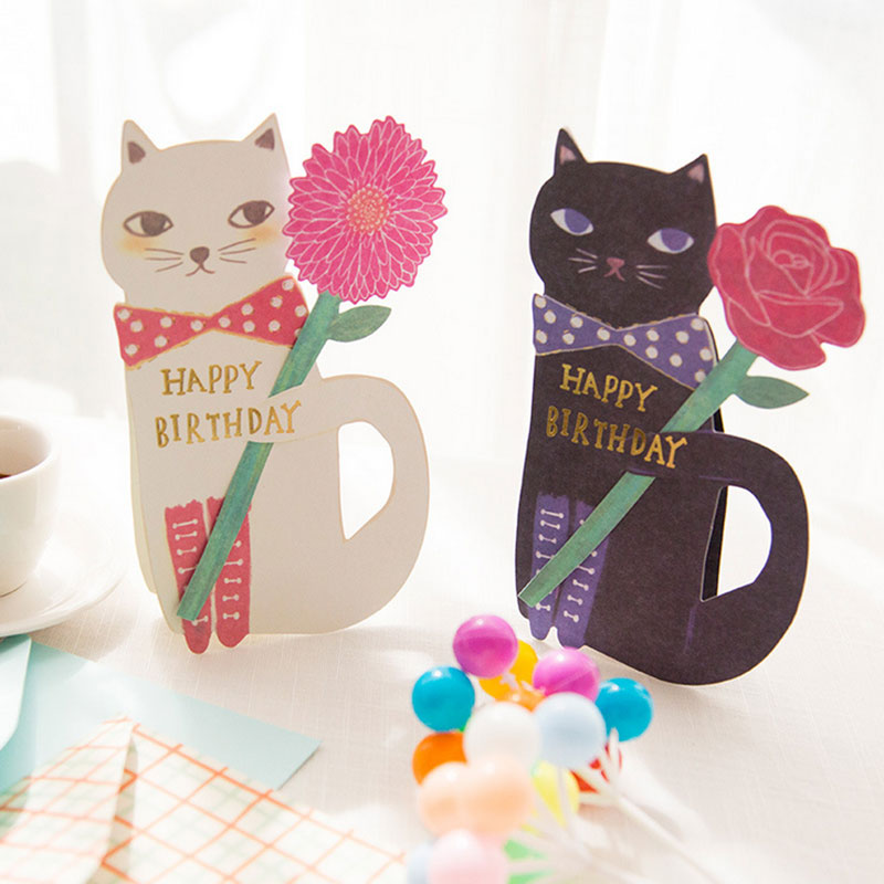1 Pcs Creative Cute Cat And Flowers Greeting Message Card With Envelope Kawaii Kids Birthday Gift Cards