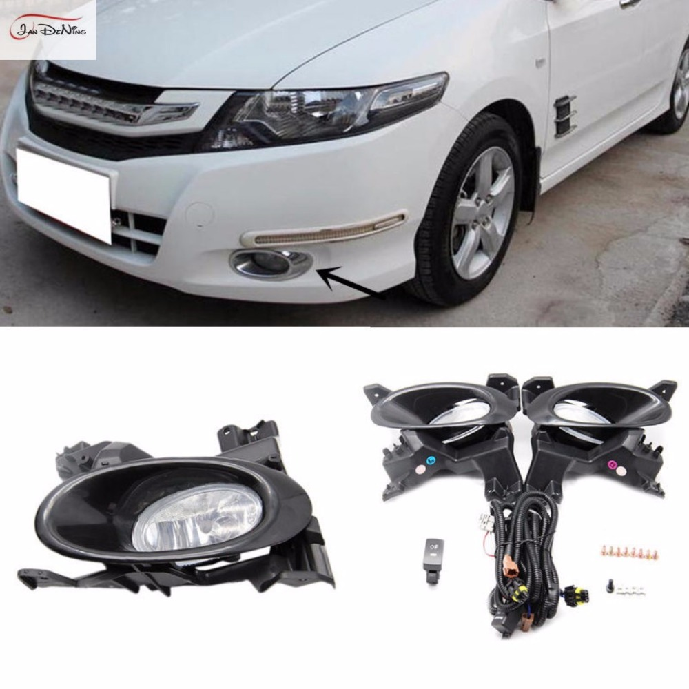 JanDeNing Car Fog Lights for Honda City 2008-2011 Halogen bulb H11-12V 55W Front Fog Lights Bumper Lamps Kit for opel astra h gtc 2005 15 h11 wiring harness sockets wire connector switch 2 fog lights drl front bumper 5d lens led lamp