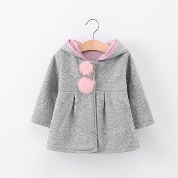 Girl's Bunny Ears Plush Pom Pom Coat 4