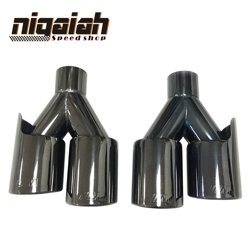 2PCS TOP quality Car 304 Stainless M tips Universal Chrome Plating Black Exhaust End Tips for