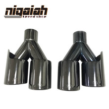2PCS TOP quality Car 304 Stainless M tip Universal Black Exhaust End Tips for BMW