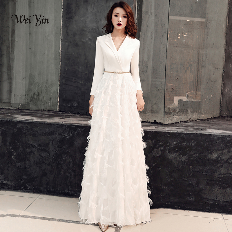 wei yin 2019 White Evening Dresses Elegant Lace Evening Gowns Long Formal Evening Dress Styles Women Prom Party Dresses WY1289(China)