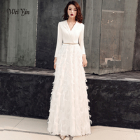 weiyin 2019 White Evening Dresses Elegant Lace Evening Gowns Long Formal Evening Dress Styles Women Prom Party Dresses WY1289