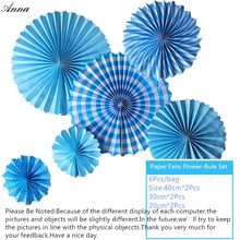 6pcs bule Cheap Paper Fans For Wedding Tissue Paper Fans Flowers Birthday Party Holiday