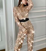 Long Sleeve Tassel Winter Jumpsuits Sequined Celebrity Elegant Christmas Evening Party Bodycon Jumpsuits