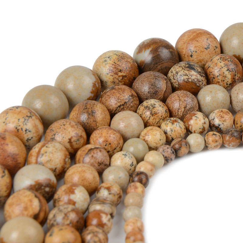 Fashion Round Picture Yellow Beads Natural Stone Beads For Jewelry Making 4mm6mm8mm10mm12mm