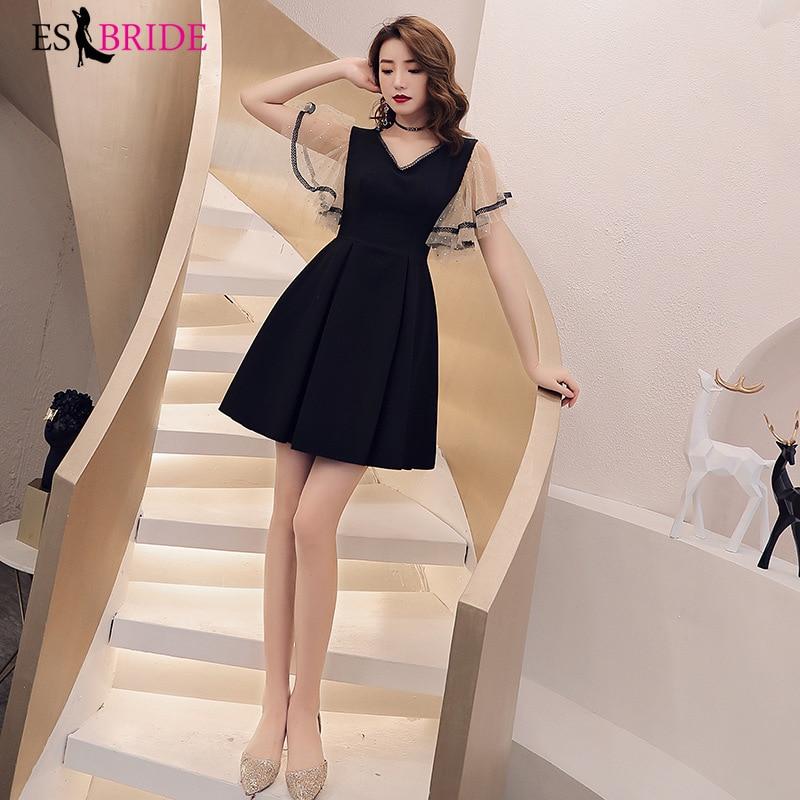 Formal Women Dress Evening Party Elegant Evening Dresses V-neck Short Sleeve Special Occasion Dress Short Black Gown ES2602