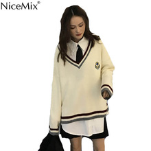 NiceMix 2019 Spring Sweater Women Pullovers Knitted Shrug Striped V-neck Knitwear Fashion Woman Clothes Pull Femme Jersey Mujer