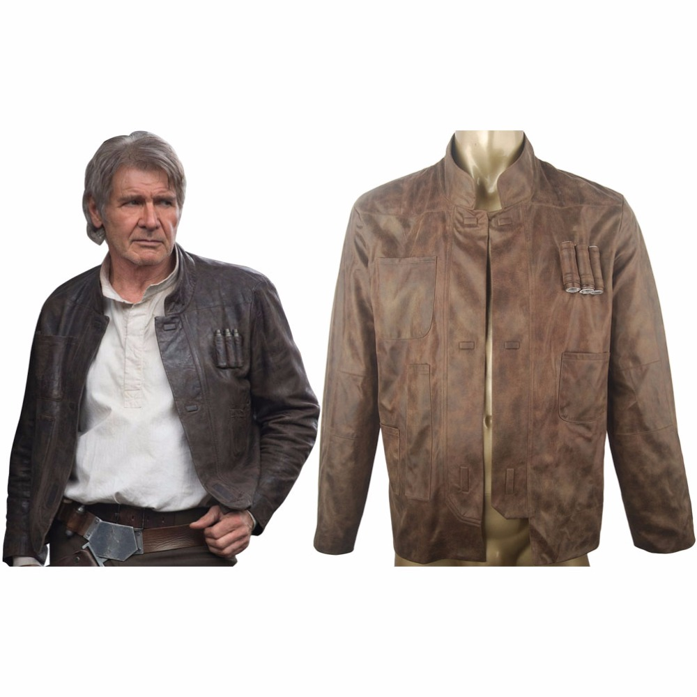 Star Wars VII 7 The Force Awakens Han Solo Jacket  Coat Outfit Halloween Comic-con Cosplay Costume Men