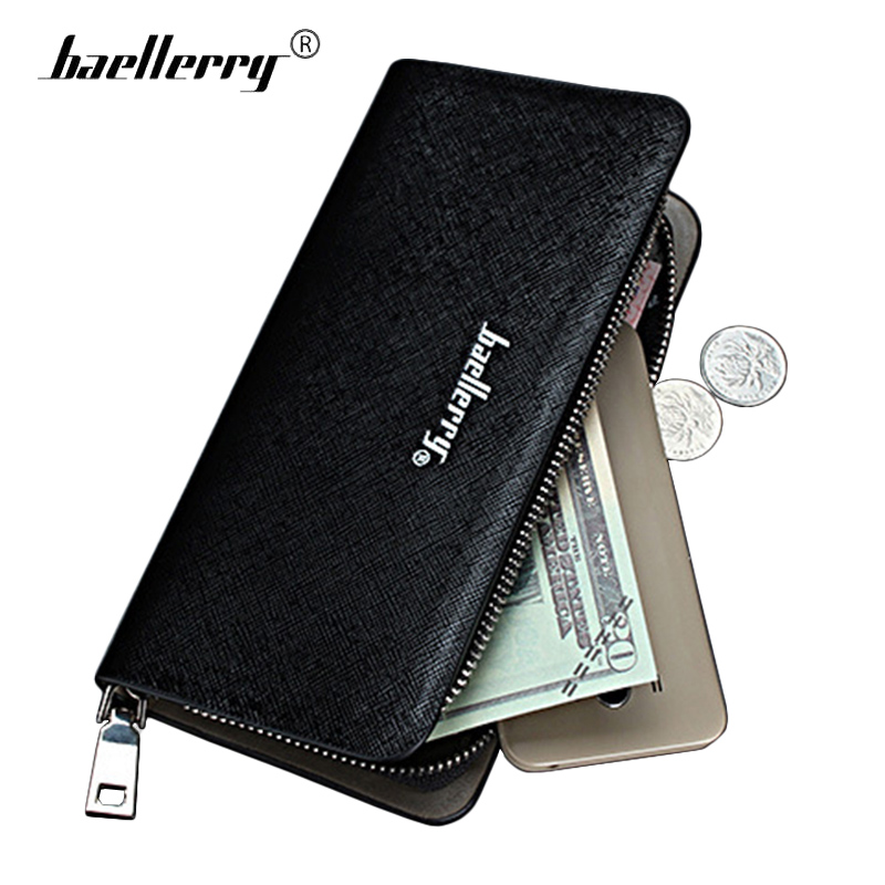 Baellerry Long Zipper Wallet Mens Leather Purse Male Wallets Card Coin Holder Clutch Walet Handy Men Wallet Money Phone Bag