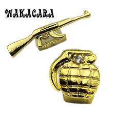 WAKACARA New Custom Fit Hip Hop Single AK47 Shape Tooth Grillz Cap Top & Bottom Grill gold Silver teeth caps