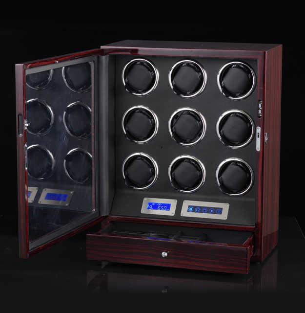 חדש גרסה 9 + 0 שעונים אוטומטי שעון המותח תיבת עם LED אורות מנוע בקרת עץ סיסה וינדר קופסא